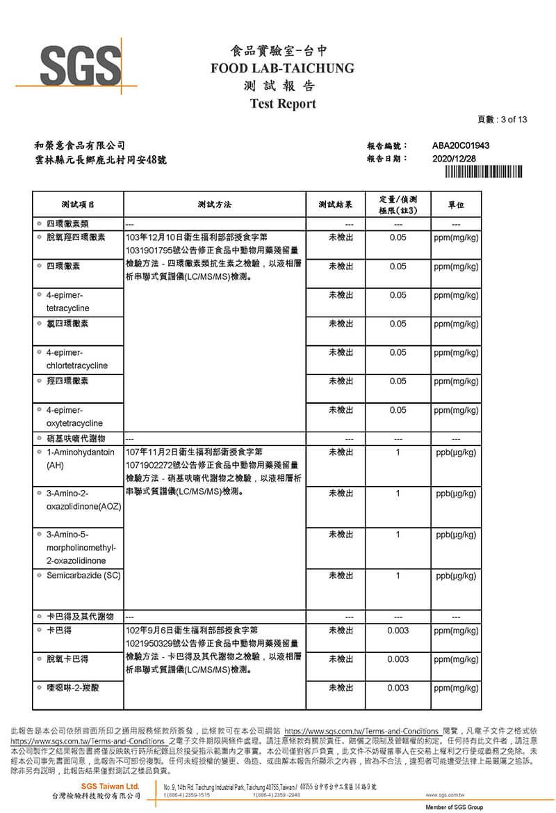 2020年12月檢驗報告